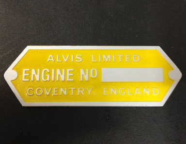 yellow engine plate